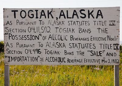 Alcoholic beverage warning in the largely Yup'ik Eskimo village of Togiak, Alaska, USA